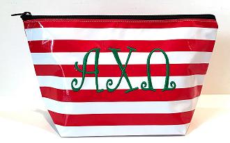 LGCOS-Stripe Red Greek Alph Chi Omega Curls